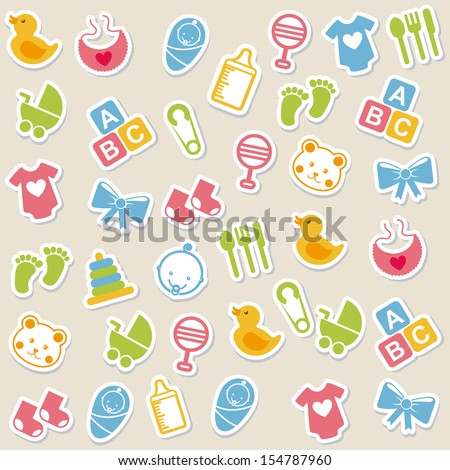 Baby Icons Over Beige Background Vector Illustration - 154787960 ...