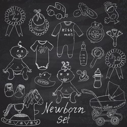 Baby icons, toys, clothes and cradle, hand drawn sketch vector illustration on chalkboard.