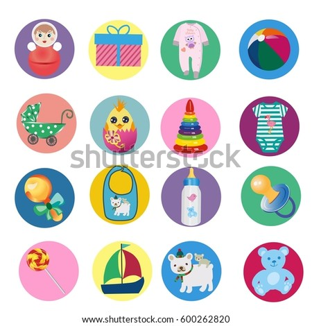 baby icons, toys, pacifier, bottle, bib, stroller, dolls, ball, jumpsuit