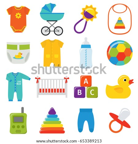 Baby icons. Vector. Baby shower elements isolated on white background. Collection symbols for newborn kids in flat design