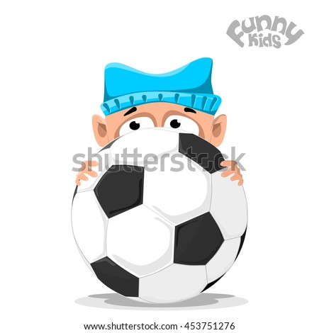 baby in a hat with soccer ball