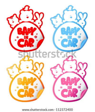 Baby in car stickers with funny animals.