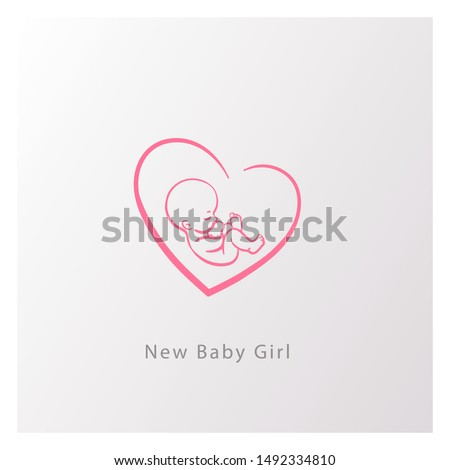 Baby in heart shape logo. Emblem with newborn girl in heart. Fetus in womb.Pediatric clinic sign. Baby health and care product emblem. It is a girl sign. baby shower card. Color vector illustration.
