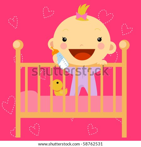 baby in the bed - stock vector