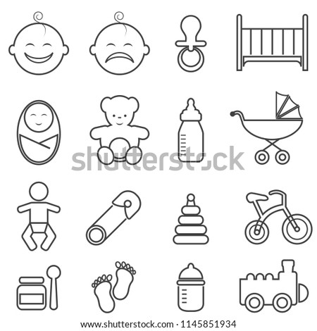 Baby, infant, newborn and birth line icon set