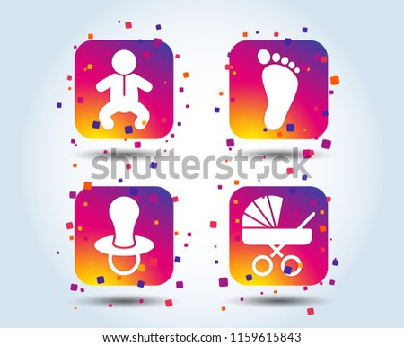 Baby infants icons. Toddler boy with diapers symbol. Buggy and dummy signs. Child pacifier and pram stroller. Child footprint step sign. Colour gradient square buttons. Flat design concept. Vector