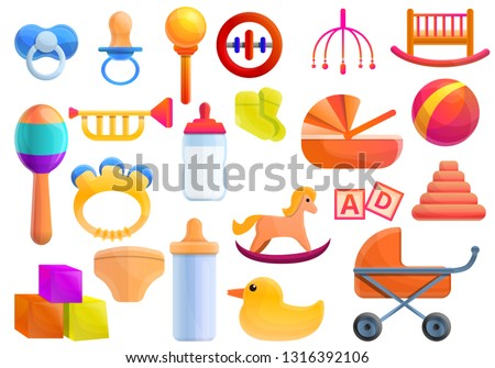 Baby items icons set. Cartoon set of baby items vector icons for web design