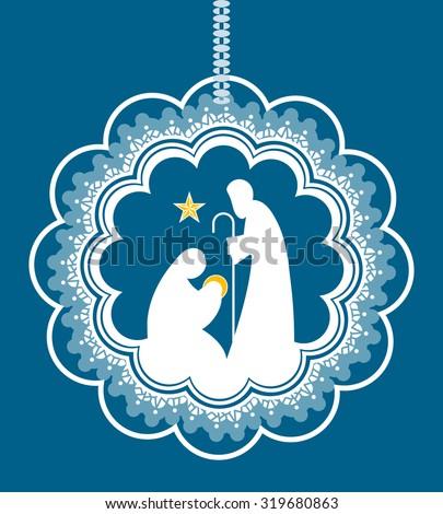 Baby Jesus Mary Joseph in bauble