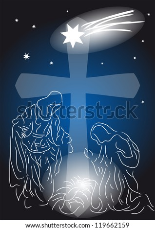 Baby Jesus. Nativity symbolic scene with Mary and Joseph