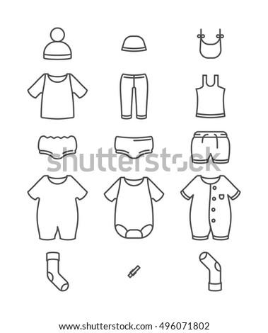 Baby line clothes - vector illustration