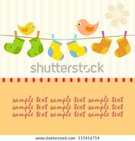 baby line with socks and birds card