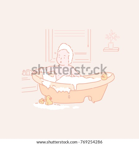 baby making a bubble bath in the tub. hand drawn style vector doodle design concept illustrations.