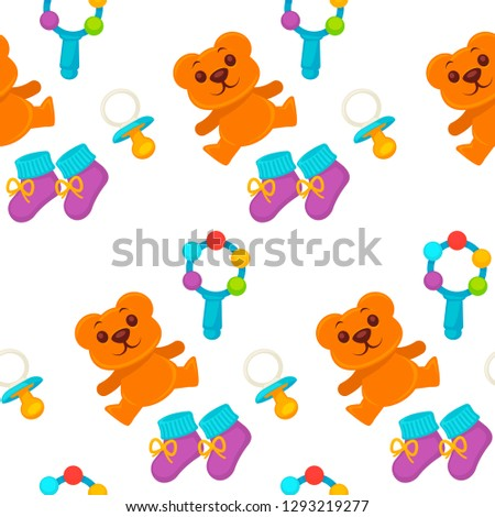 Baby newborn kid and pram perambulator seamless pattern vector. Kid wearing diaper, toys and comforter with warm shoes. Bottle for milk and liquids, heart on clothes for children. Infant and bear