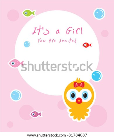 baby octopus girl shower card