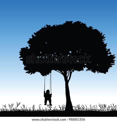 stock-vector-baby-on-a-swing-is-swinging-in-a-tree