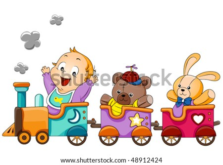 baby on train   vector