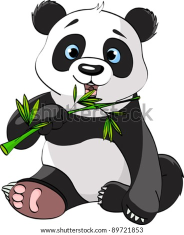 baby panda sitting and munching