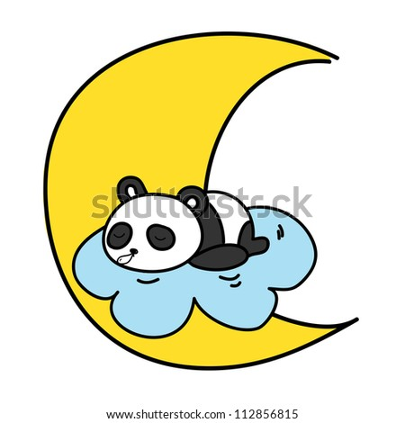 baby panda sleeping on the cloud with the moon vector illustration