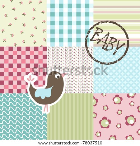 Baby patchwork pattern vector