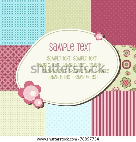 Baby patchwork pattern with text frame, vector