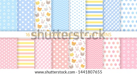 Baby pattern. Baby shower boy girl seamless background. Vector. Blue pink childish textile print. Cute pastel texture for invitation, invite template, card, birth party, scrapbook. Flat illustration.