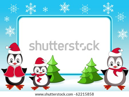 Baby penguins. Christmas frame. Vector illustration.