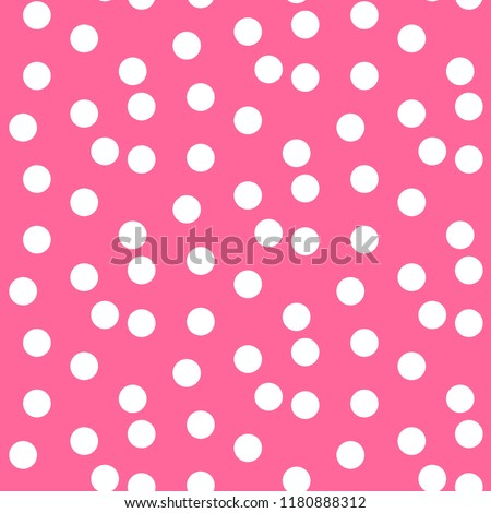 Baby pink background scattered dots polka seamless pattern. Vector illustration.