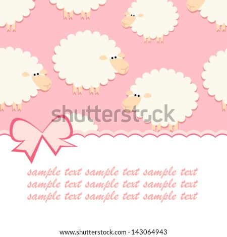 baby pink sheep card