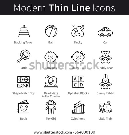 Baby products & games thin line art icons. Toddler educational toys like shape match, bead maze and simple rattle. Linear style illustrations isolated on white.