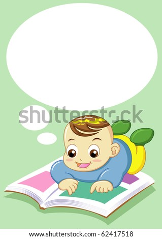 baby reading can use for input text in  blank space