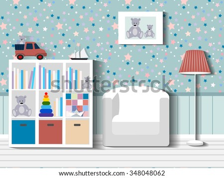 Baby room with furniture/Children's room/Children's interior/Nursery interior/Flat style vector illustration/Baby room/Nursery room/Baby room in Flat style/furniture/toys/curtains/pajamas ストックフォト ©