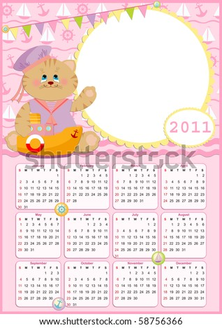Baby's calendar for year 2011 with photo frame (EPS10)