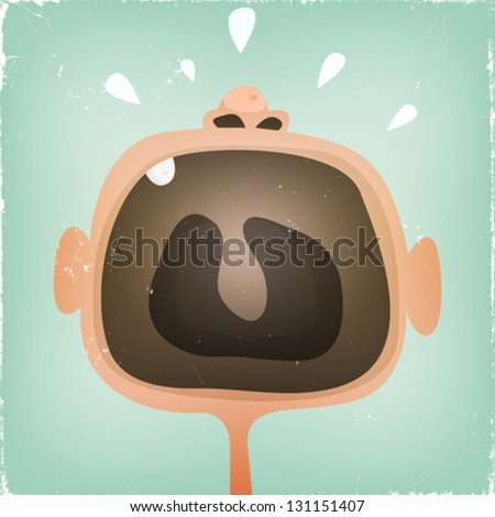 Baby's Mouth Screaming Illustration of a design funny cartoon baby mouth screaming and yelling with grunge texture over