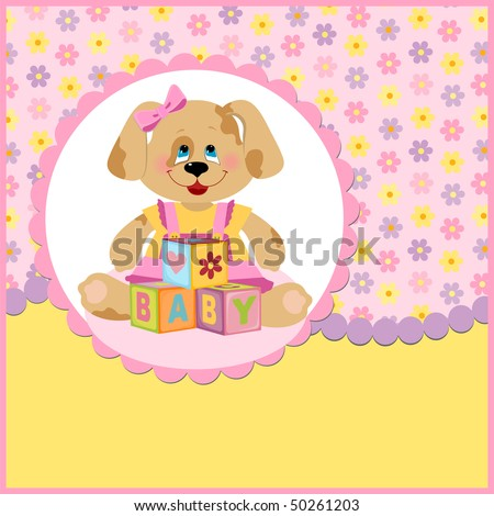 Baby's postcard with doggy and letter cubes (EPS10)