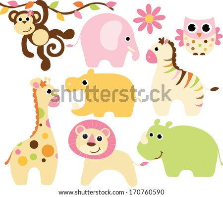 Baby Safari Animals - Girl