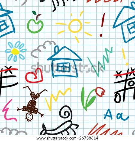 baby school vector seamless pattern - stock vector