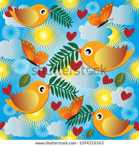 Baby seamless pattern. Vector light blue sunny cartoon background. Colorful flying birds, butterflies, clouds, sun, leaves, flowers, branches, love hearts. Cute babyish design for fabric, interior