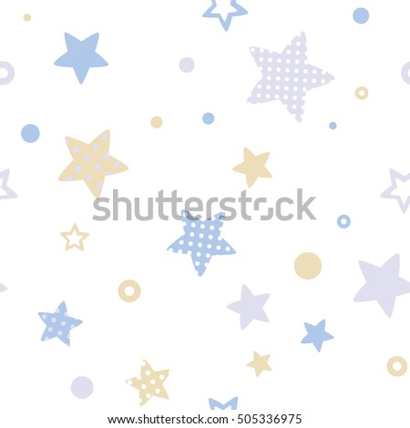 Stock Photo Baby seamless pattern. White background with pastel stars. Vector illustration.