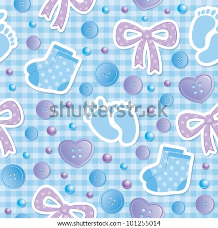 baby seamless pattern with bows and bootees