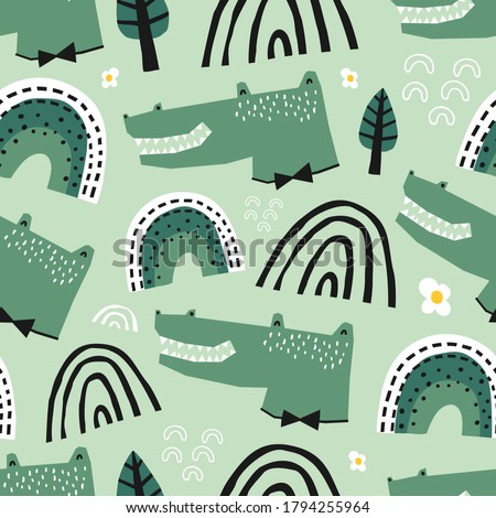 Baby seamless pattern with cute alligator, rainbows and trees. Creative childish texture for fabric, wrapping, textile, wallpaper, apparel. Vector illustration.