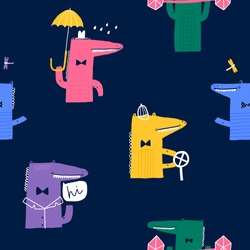 Baby seamless pattern with cute alligators. Creative childish texture for fabric, wrapping, textile, wallpaper, apparel. Vector illustration. Dark blue background.