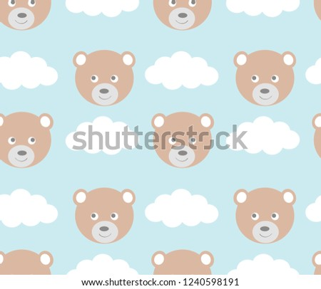 Baby seamless pattern with cute bear and clouds. Vector illustration for children's print, wallpaper, fashion design