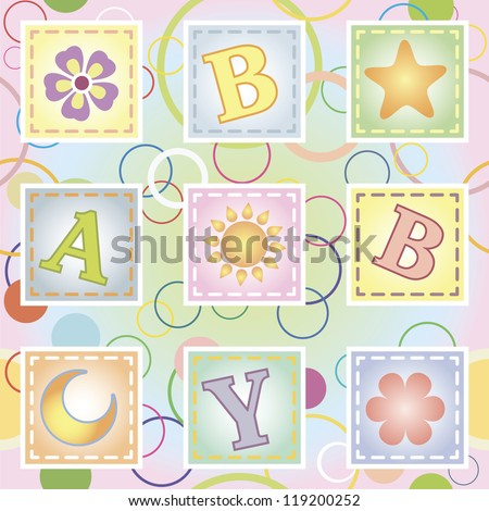 Baby seamless texture with letters - stock vector