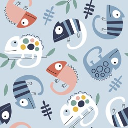 Baby seamless vector pattern. Cute chameleons on blue background. Creative scandinavian kids texture for fabric, textile, wallpaper, apparel. Vector illustration in pastel colours.