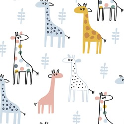 Baby seamless vector pattern. Cute giraffe on blue background. Creative scandinavian kids texture for fabric, textile, wallpaper, apparel. Vector illustration in pastel colours.
