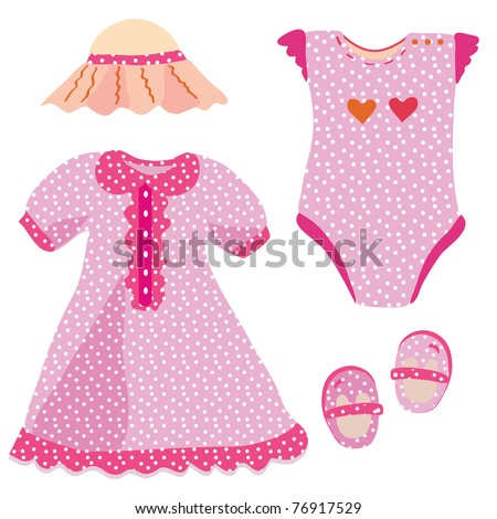 Stock Photo Baby set for girl - dress, hat, babygro, shoes