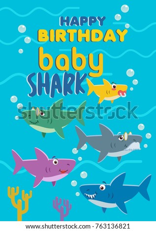 Baby shark birthday card. Vector stock of shark family