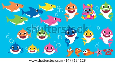baby shark family vector pack