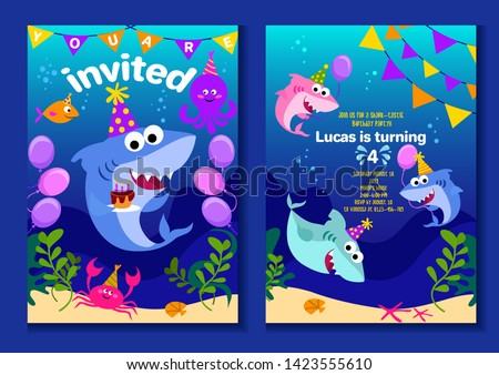 Baby shark party invitation cards. Happy Birthday greeting card in cartoon style with under the sea world animals shark, octopus, balloons etc. Colorful kids party poster or invitation vector template