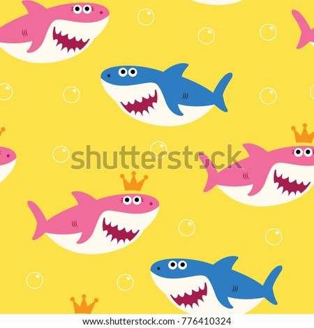 Baby Shark Seamless Pattern Vector Drawing Cute for Kids